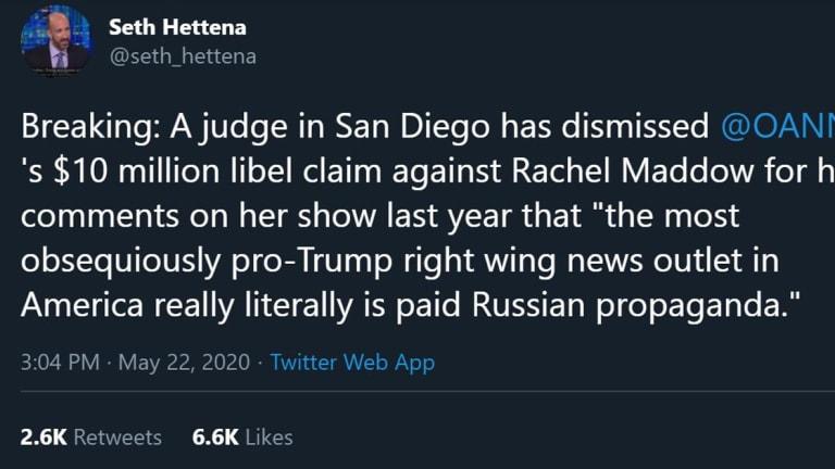 Judge Dismisses OAN's Defamation Claim Against Rachel Maddow With Prejudice