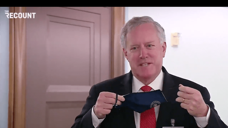 WATCH: Mark Meadows Refuses To Talk To Reporters With His Mask On