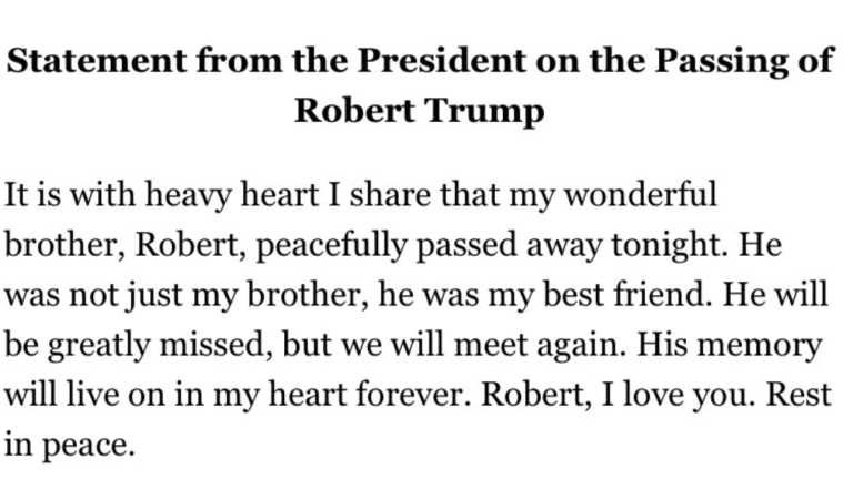 Report: Robert Trump, Trump's Younger Brother, Has Died