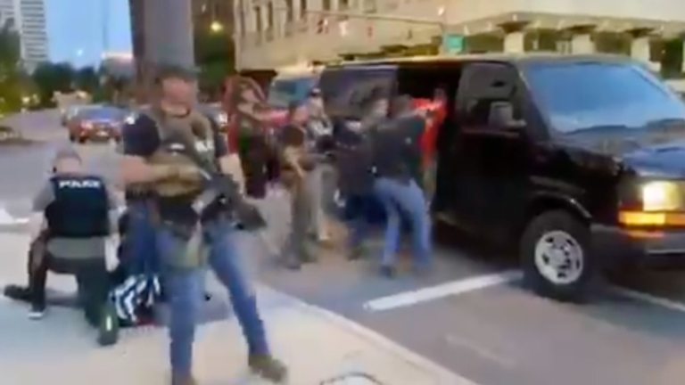 Columbus 'Paramilitary' Police With Weapons Abduct Protester In Unmarked Van