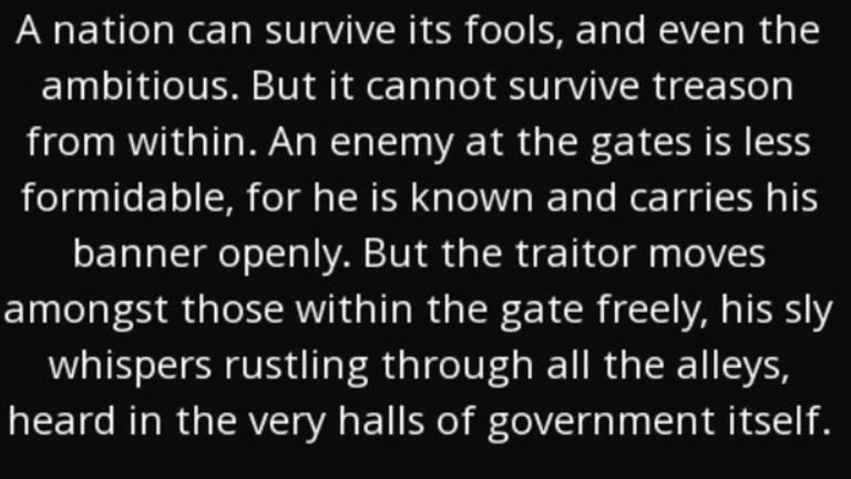Marcus Tullius Cicero Explains The Dangers Of Traitors