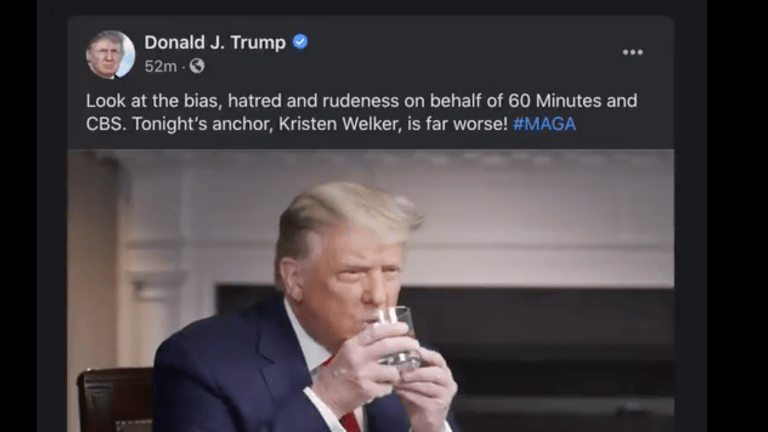 In 60 Minutes Interview, Trump Uses Both Hands To Drink A Glass Of Water